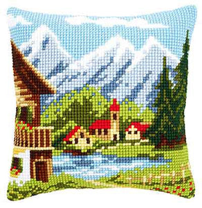 Alpine Village Printed Cross Stitch Cushion Kit by Vervaco