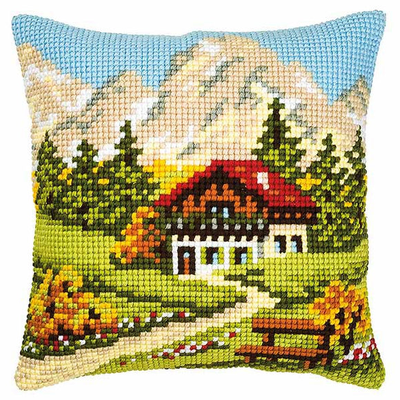 Mountain Scene Printed Cross Stitch Cushion Kit by Vervaco