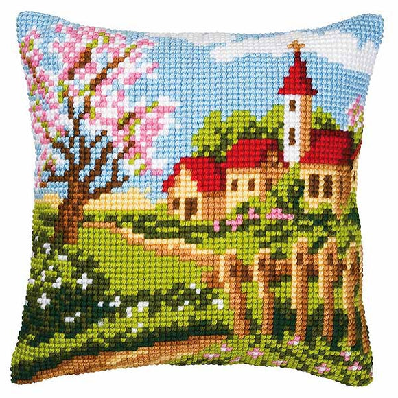 Country Church Printed Cross Stitch Cushion Kit by Vervaco