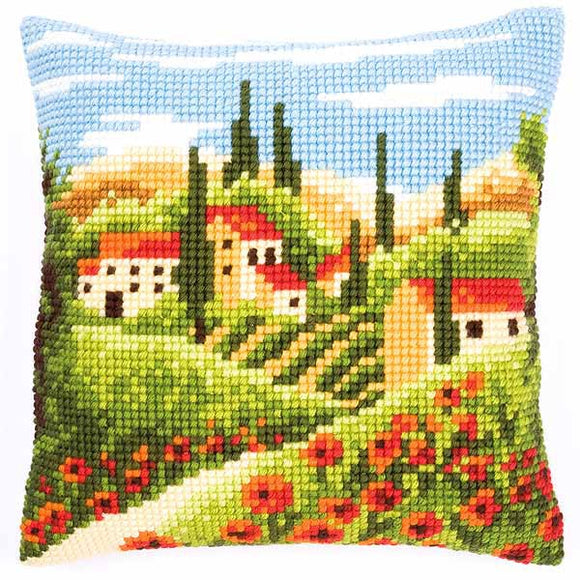Village Printed Cross Stitch Cushion Kit by Vervaco