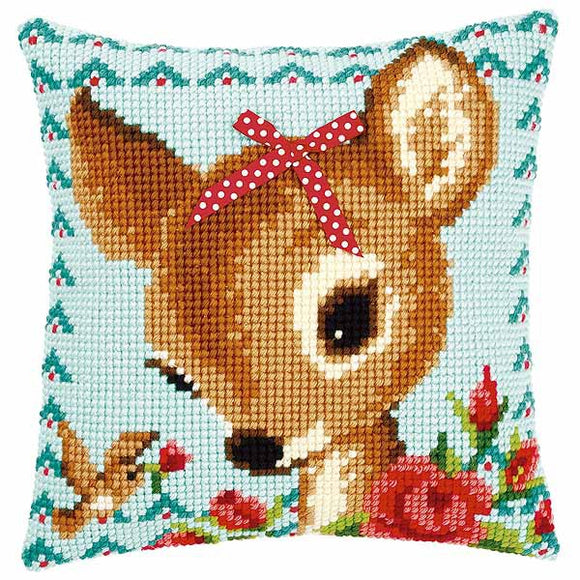 Bambi with Bow Printed Cross Stitch Cushion Kit by Vervaco
