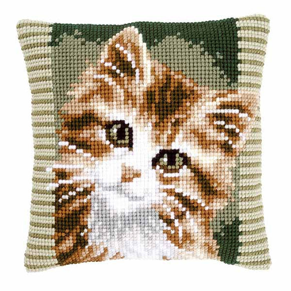 Brown Cat Printed Cross Stitch Cushion Kit by Vervaco