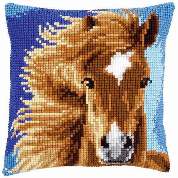 Brown Horse Printed Cross Stitch Cushion Kit by Vervaco