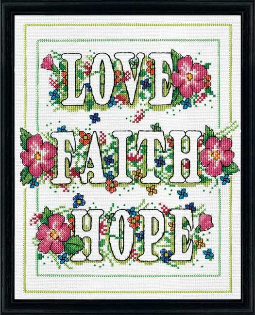 Love Faith Hope Cross Stitch Kit by Design Works