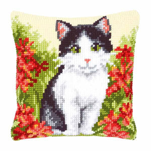 Cat Printed Cross Stitch Cushion Kit by Vervaco