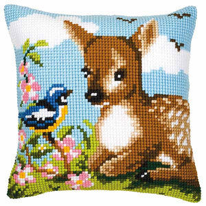 Deer and Bird Printed Cross Stitch Cushion Kit by Vervaco