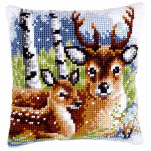 Deer Family Printed Cross Stitch Cushion Kit by Vervaco