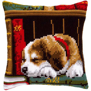 Sleeping Dog Printed Cross Stitch Cushion Kit by Vervaco
