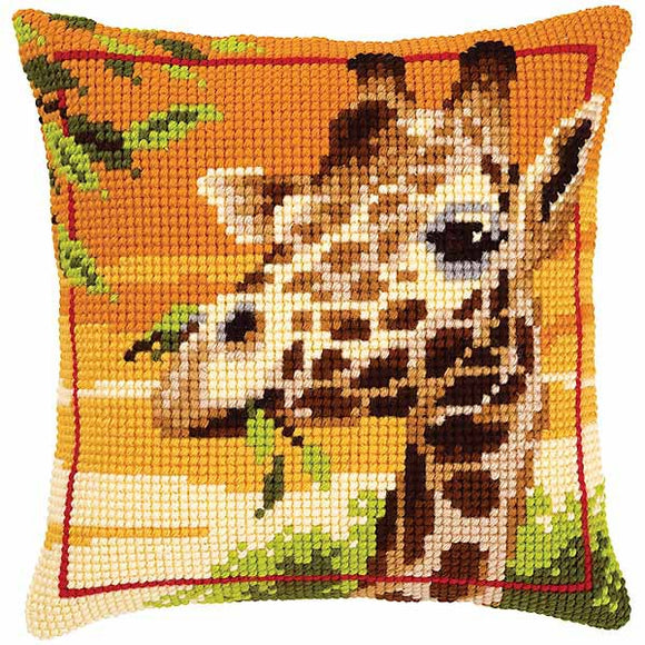 Giraffe Printed Cross Stitch Cushion Kit by Vervaco