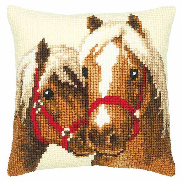Horses Printed Cross Stitch Cushion Kit by Vervaco
