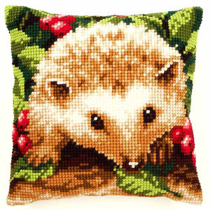 Hedgehog with Berries Printed Cross Stitch Cushion Kit by Vervaco