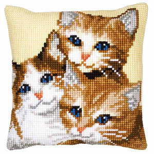 Kittens Printed Cross Stitch Cushion Kit by Vervaco
