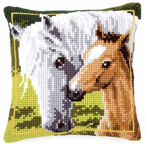 Mare and Foal Printed Cross Stitch Cushion Kit by Vervaco
