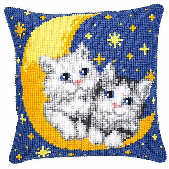 Moon and Kittens Printed Cross Stitch Cushion Kit by Vervaco