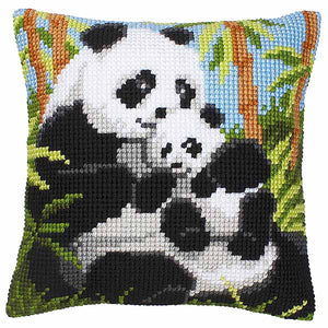 Panda Printed Cross Stitch Cushion Kit by Vervaco