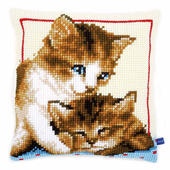 Playful Kittens Printed Cross Stitch Cushion Kit by Vervaco