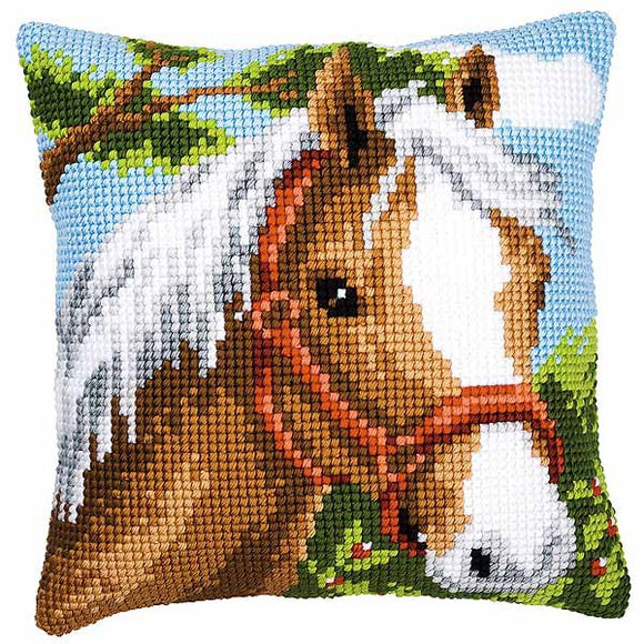 Pony Printed Cross Stitch Cushion Kit by Vervaco