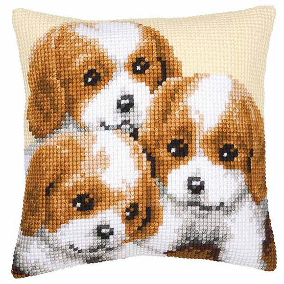 Puppies Printed Cross Stitch Cushion Kit by Vervaco