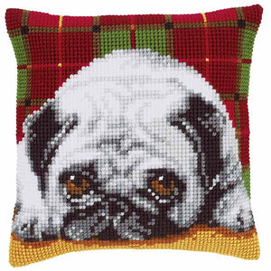 Pug Printed Cross Stitch Cushion Kit by Vervaco