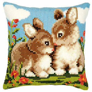Rabbits Printed Cross Stitch Cushion Kit by Vervaco