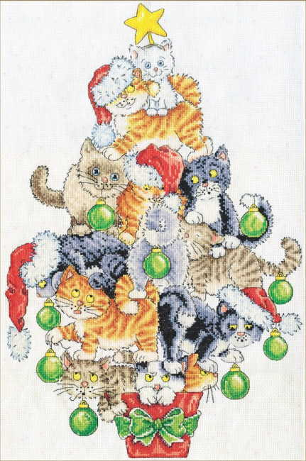 Christmas Cat Tree Cross Stitch Kit by Design Works