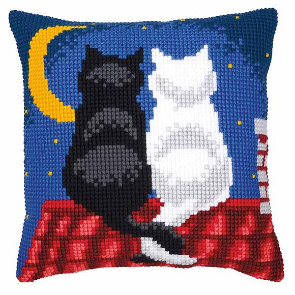 Roof Top Cats Printed Cross Stitch Cushion Kit by Vervaco