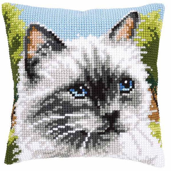Siamese Cat Printed Cross Stitch Cushion Kit by Vervaco