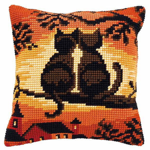 Sunset Cats Printed Cross Stitch Cushion Kit by Vervaco