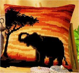 Sunset Elephant Printed Cross Stitch Cushion Kit by Vervaco
