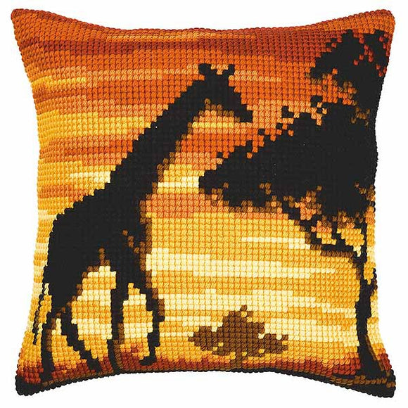 Sunset Giraffe Printed Cross Stitch Cushion Kit by Vervaco