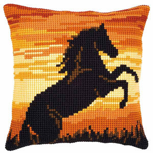 Sunset Stallion Printed Cross Stitch Cushion Kit by Vervaco