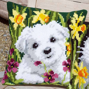 Westie in Daffodils Printed Cross Stitch Cushion Kit by Vervaco