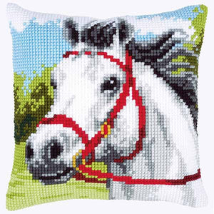White Horse Printed Cross Stitch Cushion Kit by Vervaco