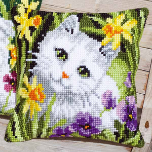 White Cat in Daffodils Printed Cross Stitch Cushion Kit by Vervaco