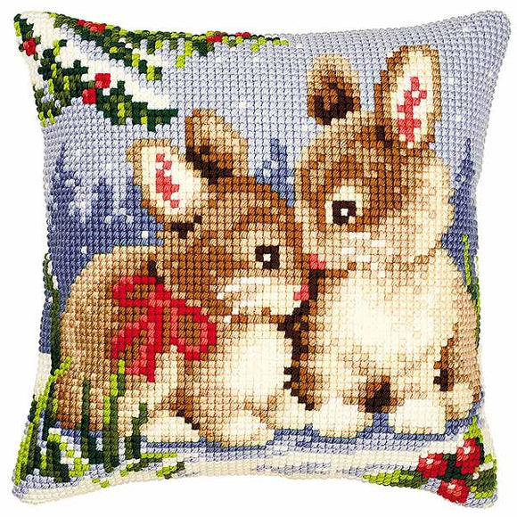 Winter Rabbits Printed Cross Stitch Cushion Kit by Vervaco