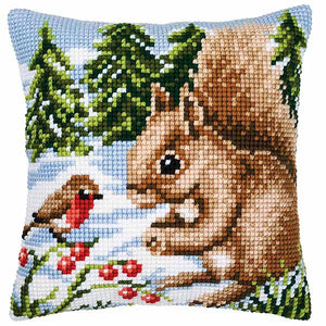 Winter Squirrel Printed Cross Stitch Cushion Kit by Vervaco