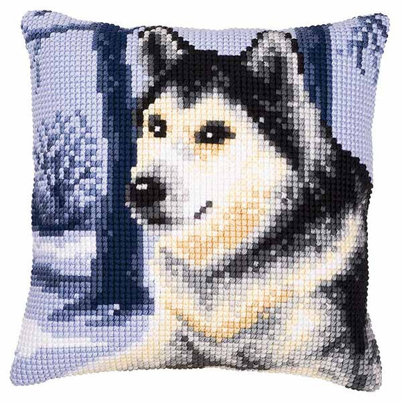 Winter Wolf Printed Cross Stitch Cushion Kit by Vervaco