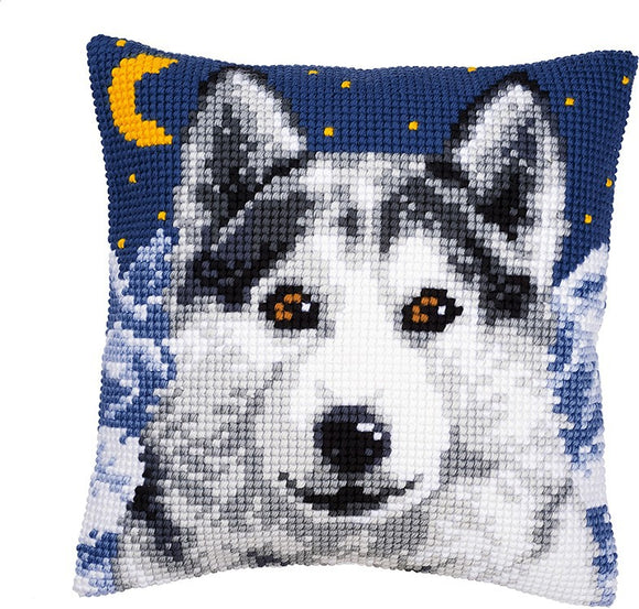 Wolf Printed Cross Stitch Cushion Kit by Vervaco