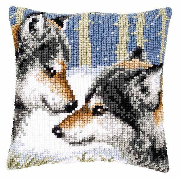 Wolves Printed Cross Stitch Cushion Kit by Vervaco