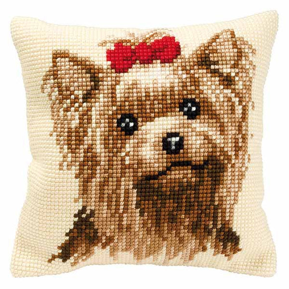 Yorkshire Terrier Printed Cross Stitch Cushion Kit by Vervaco