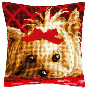Yorkshire Terrier with Bow Printed Cross Stitch Cushion Kit by Vervaco