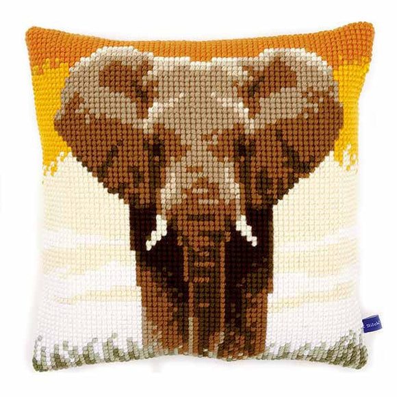 Elephant in the Savannah Printed Cross Stitch Cushion Kit by Vervaco
