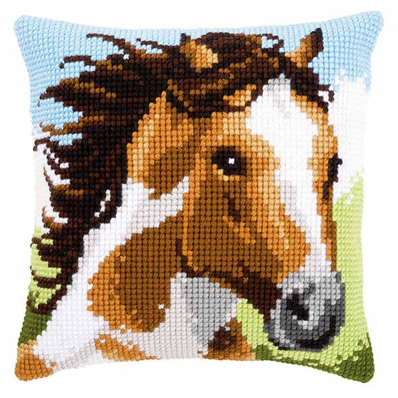 Fiery Stallion Printed Cross Stitch Cushion Kit by Vervaco