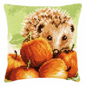 Hedgehog with Apples Printed Cross Stitch Cushion Kit by Vervaco