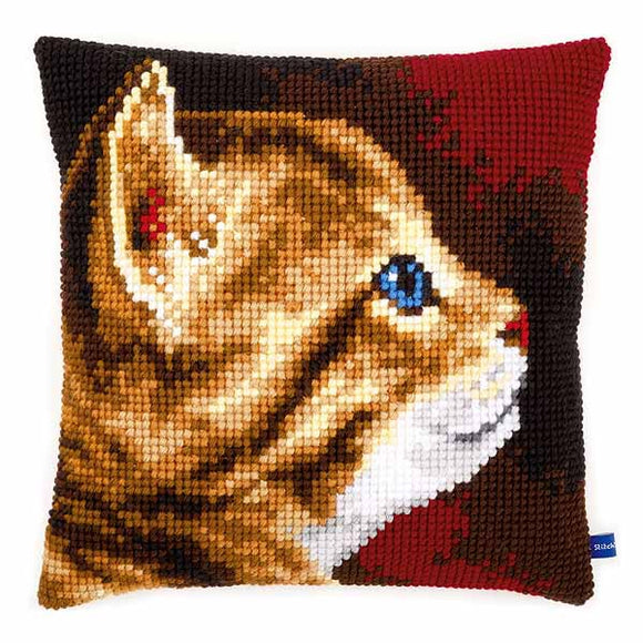 Kitten Printed Cross Stitch Cushion Kit by Vervaco