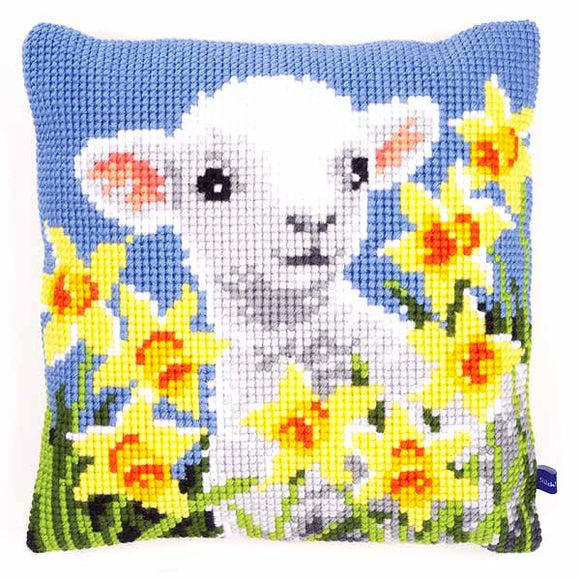 Lamb Printed Cross Stitch Cushion Kit by Vervaco