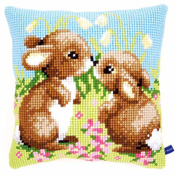 Little Rabbits Printed Cross Stitch Cushion Kit by Vervaco