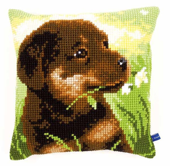 Rottweiler Puppy Printed Cross Stitch Cushion Kit by Vervaco