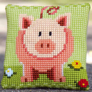 Little Piggy Printed Cross Stitch Cushion Kit by Vervaco