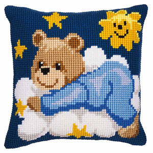 Blue Teddy Printed Cross Stitch Cushion Kit by Vervaco